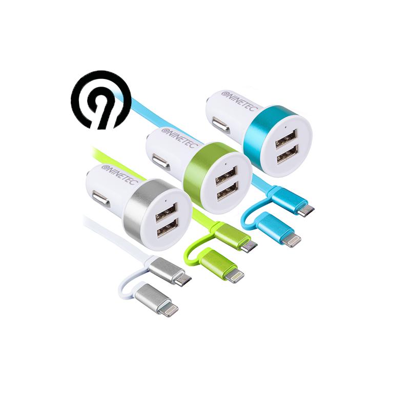 Car USB Charger 2 x Smart IQ charging cable / NINETEC NT 2CC15 / Blue color