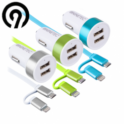 Car USB Charger 2 x Smart IQ charging cable / NINETEC NT 2CC15 / Silver color