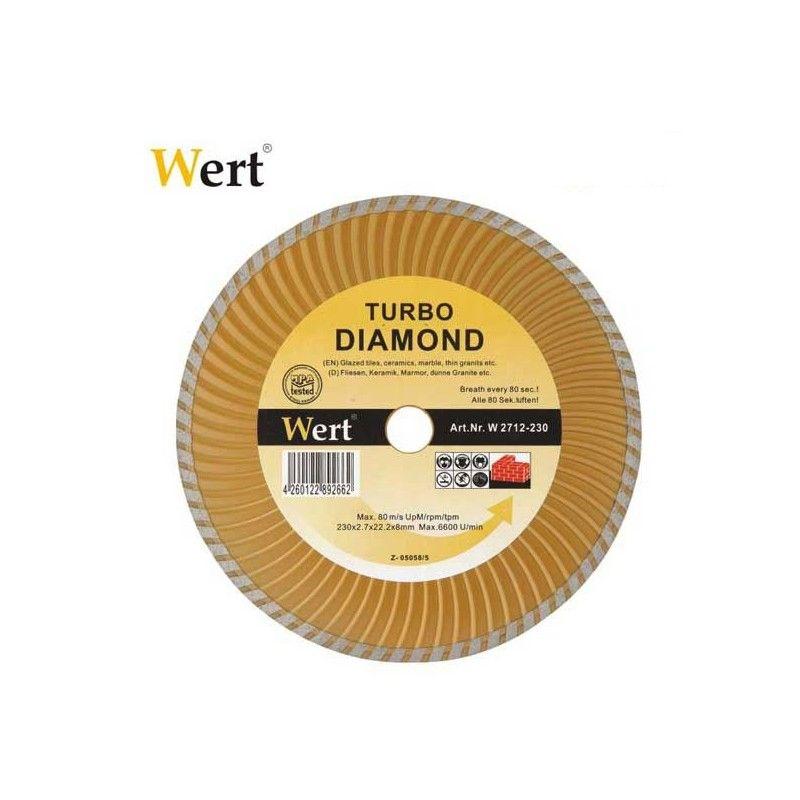 """TURBO"" Диамантен диск за гранит, мрамор, керамика и камък / Wert 2712-115 /"