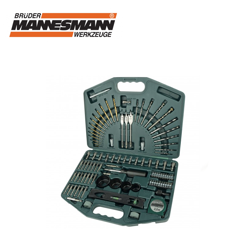 Комплект с накрайници, свредла и боркорони, 100 части  / MANNESMANN 54400 /