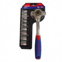 Комплект ръкохватка с двойно задвижване и вложки 10 части / Workpro W003014 / 3