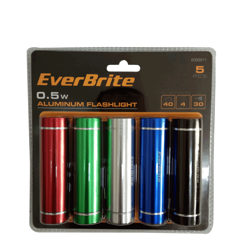 Aluminium Flashlights set with batteries 5pieces / EverBrite E000011 / EVERBRITE - 5