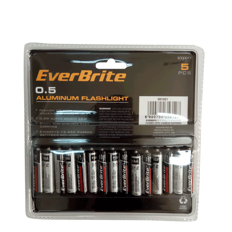 Aluminium Flashlights set with batteries 5pieces / EverBrite E000011 / EVERBRITE - 6