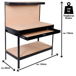Работна маса с чекмедже и стена за инструменти WB10729