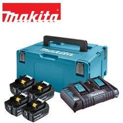 Акумулаторен комплект 4x 6,0 Ah Li-ion батерии и двойно зарядно устройство в куфар тип Makpac 3