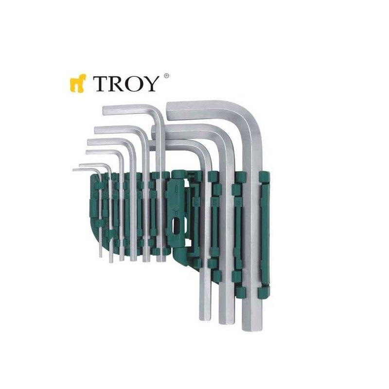 TROY 26201 Allen Anahtar Seti Düz, 9 Parça