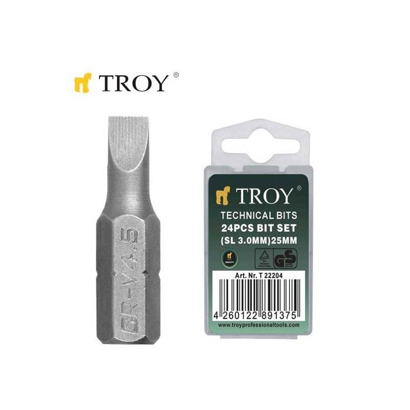 TROY 22204 Bits Uç Seti Düz 3,0x25mm, 24 Adet