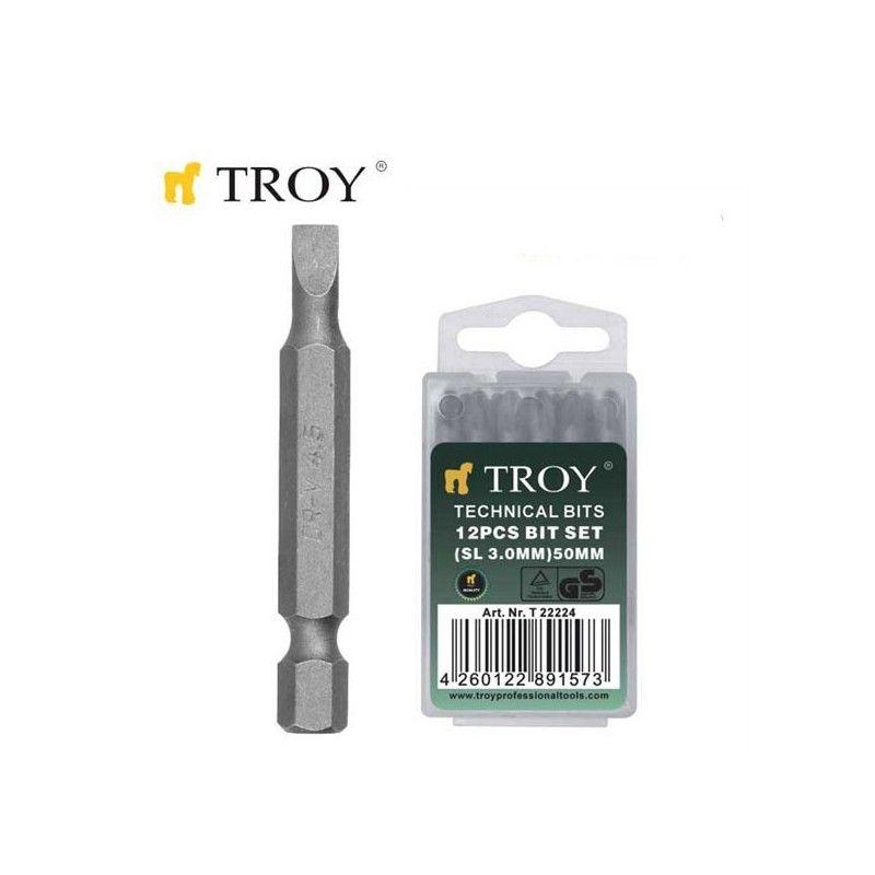 TROY 22224 Bits Uç Seti Düz 3,0x50mm, 12 Adet