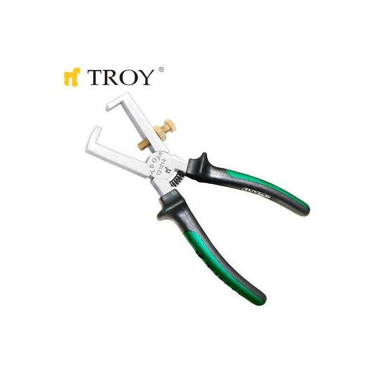Клещи за оголване на кабел 160 мм / TROY 21014 /