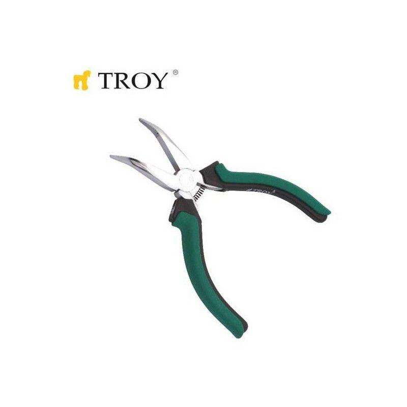 Клещи с остър извит връх, мини 115 мм / Troy 21054 /