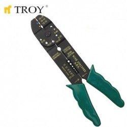 Клещи за кабелни обувки и оголване на кабели 225 мм / TROY 24005 / 1