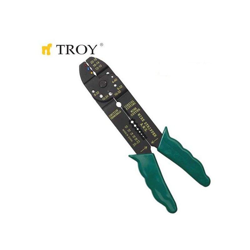 Клещи за кабелни обувки и оголване на кабели 225 мм / TROY 24005 /