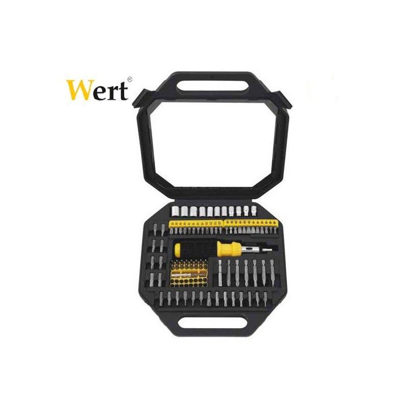 Комплект тресчота ръкохватка, накрайници и вложки, 101 части / Wert 2253 /