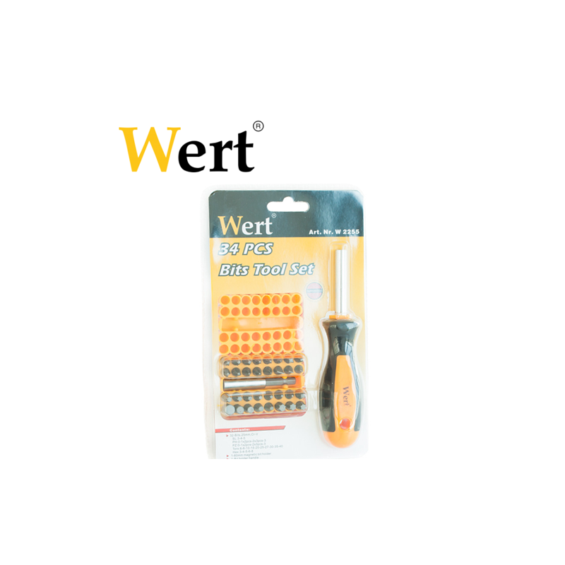 Replaceable Bit Screwdriver 33pcs.  / WERT 2255 / WERT - 1