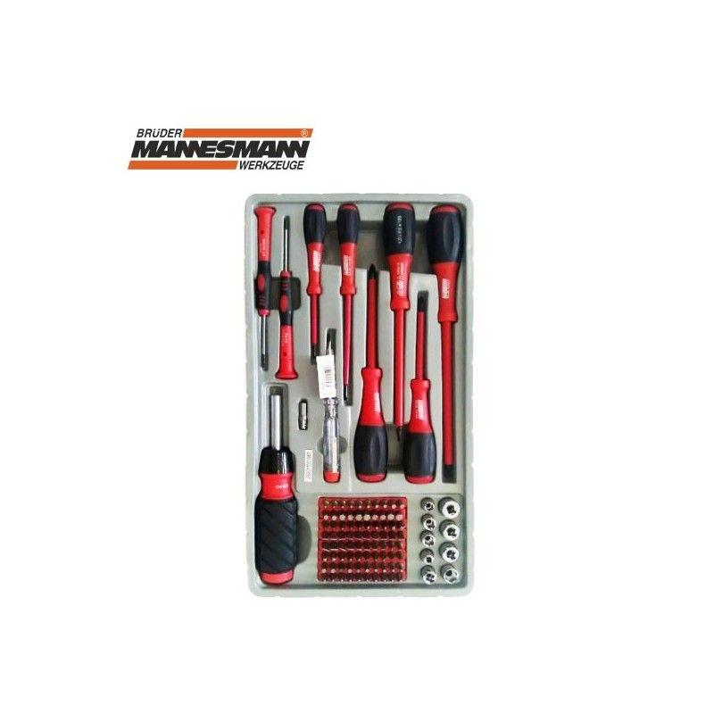 Mannesmann 11200 100-Piece Screwdriver Bit and Socket Key Set