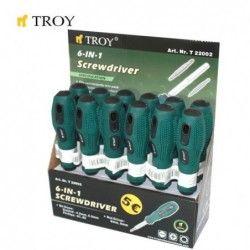 Отвертка със сменяеми накрайници 6 в 1  / TROY 22002 /