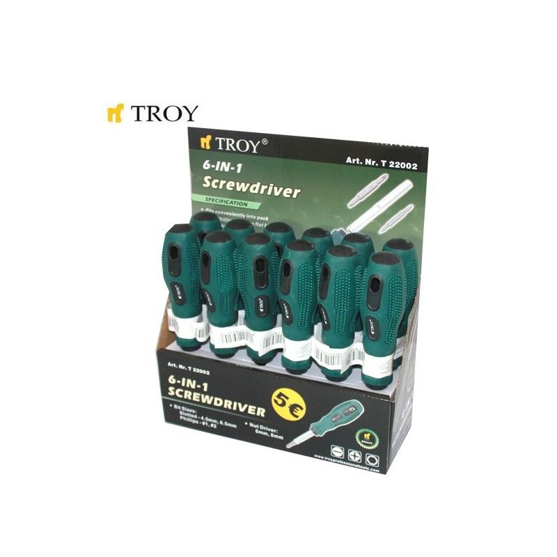 Replaceable Bit Screwdriver 6 in 1  / TROY 22002 /
