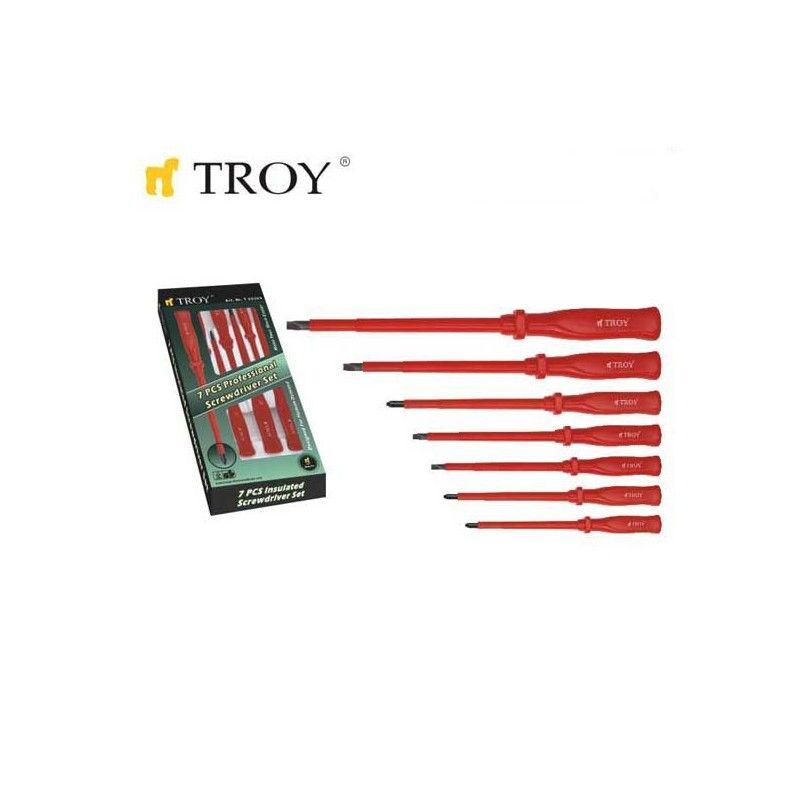Комплект професионални изолирани отвертки, 7 броя  / TROY 22305 /