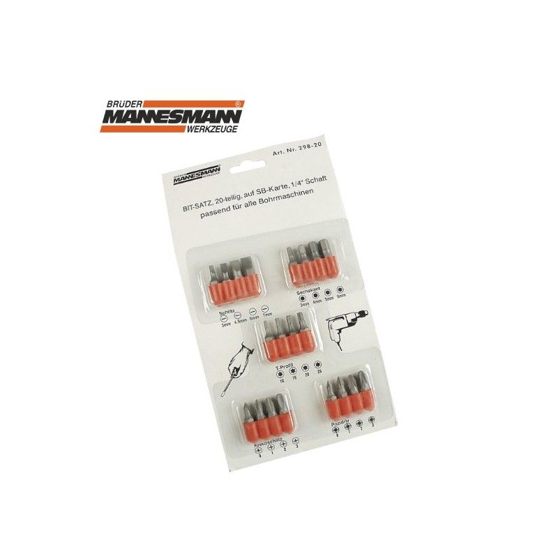 Комплект накрайници за отвертка, 20 бр  / MANNESMANN 298-20 /