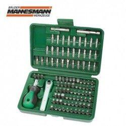 Комплект тресчотка с накрайници за отвертка, 99 части / MANNESMANN 29899 /