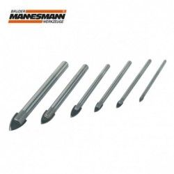 Glass drill set 6 pieces, dia. 3, 4, 5, 6, 8, 10 mm
