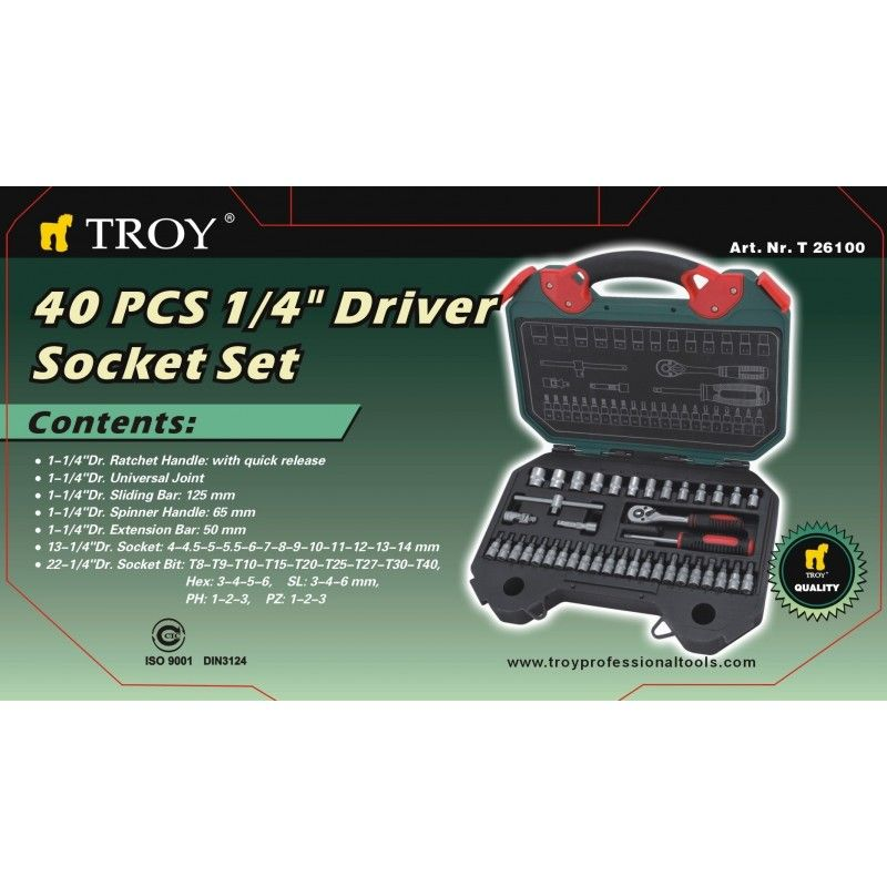 Socket Set 40Pieces, Metric / Troy 26100 / TROY - 2