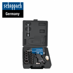 """Pneumatic impact wrench set with sockets and accessories 1/2"""" / Scheppach 7906100717 /"""