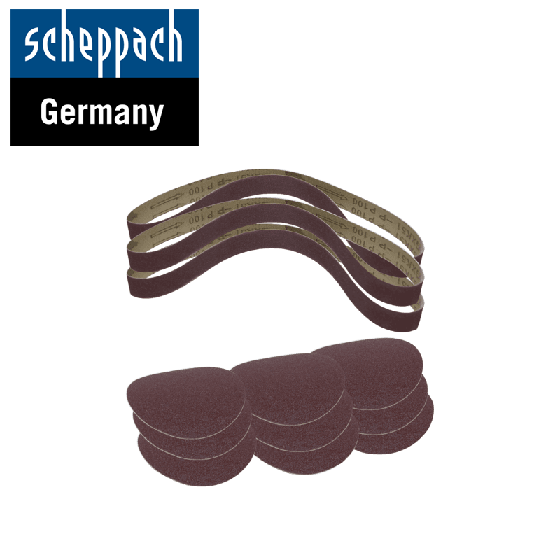 Комплект шкурки за велкро и ленти, за лентов / дисков шлайф BTS700 / Scheppach 3903301707 / 12 части