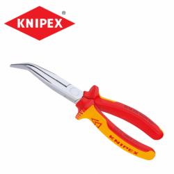 Електричарски клещи с дълги криви човки 200 мм VDE изолирани / KNIPEX 2626200