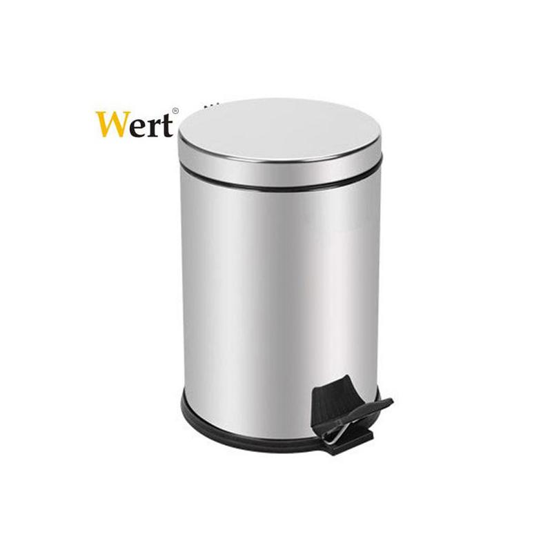 Кошче за отпадъци с педал, метално, 12 Литра,  с капак / Wert 8204 /