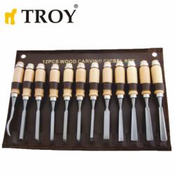 Комплект резбарски длета за дърво 12 бр. / Troy 25004 / Дърводелски инструменти
